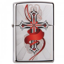 Žiebtuvėlis  ZIPPO 28526 Cross with Wings High Polish Chrome