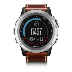 Garmin fēnix 3 Sapphire, Silver with Leather Band