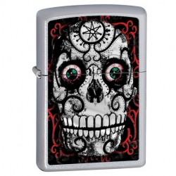 Žiebtuvėlis ZIPPO 24883 Day of The Dead Skull Lighter - Satin Chrome