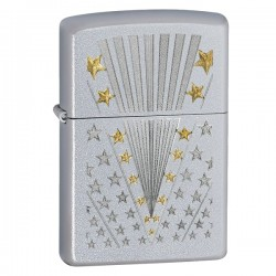 Žiebtuvėlis ZIPPO 28277 Classic Satin Chrome Flag Pattern Windproof Pocket Lighter