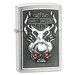 Žiebtuvėlis ZIPPO 28267 Harley Davidson Skull with Red Crystals Design Brushed Chrome