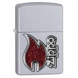 Зажигалка ZIPPO 28847 Red Flame Satin Chrome - Zippo