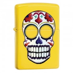 Žiebtuvėlis ZIPPO 24894 Skull-Day of the Dead, Lemon Yellow Finish